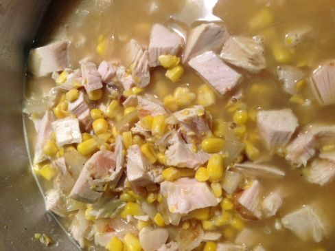 Chicken soup with sweet corn