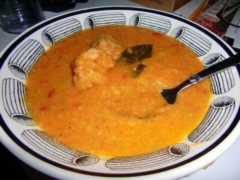 Italian Red Lentil Soup with Turkey Sausage Meatballs