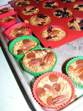 Chocolate Pecan Baked Oatmeal Muffins