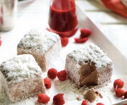 Frozen Lamingtons with Raspberries