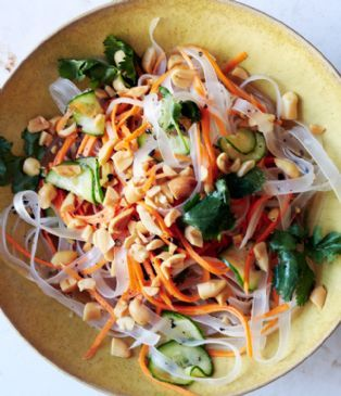 Vegan Wide Bean Thread Noodle Salad