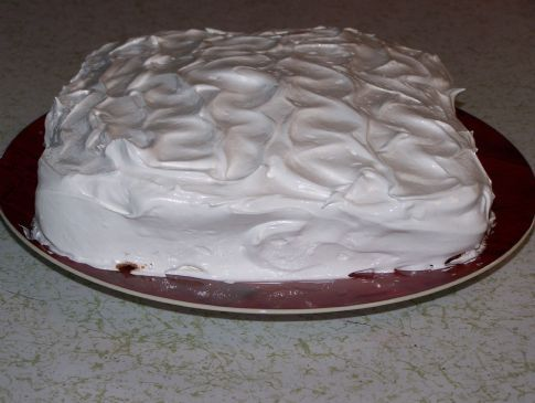 Small white cake with Fluffy White Frosting