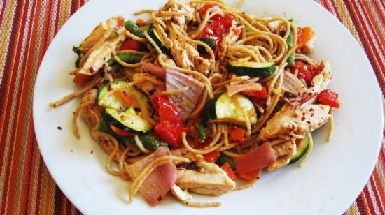 Pasta with Vegetables and Grilled Chicken