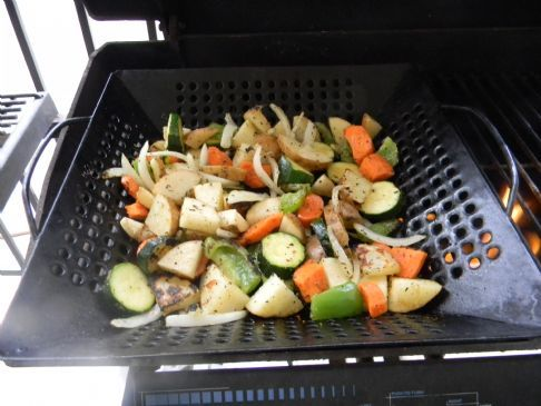 grilled potato veggie mix