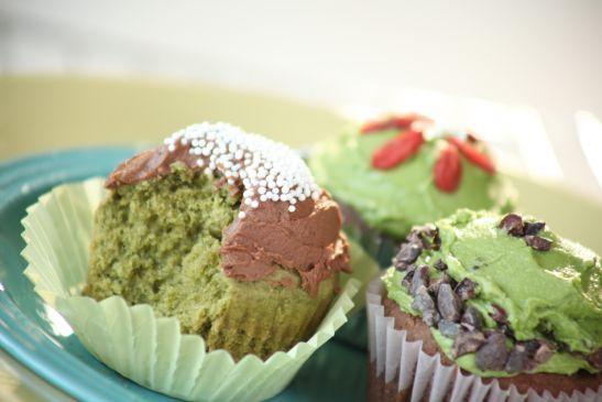 Vegan Gluten-free Sugar-free Matcha Green Tea Cupcakes