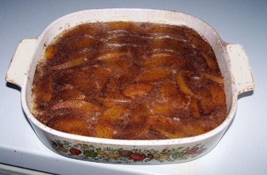 No Butter - low calorie Peach Cobbler Cake