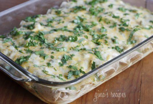 Chicken and White Bean Enchiladas with Creamy Salsa Verde (Weight Watchers Recipe)