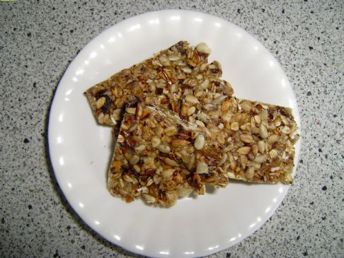 Homemade granola bars with nuts and raisins