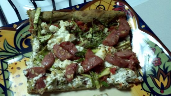 Goat Cheese and Asparagus Pizza