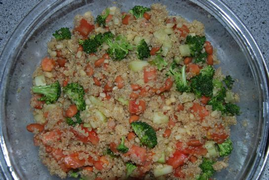Quinoa lime garlic and veggie side salad