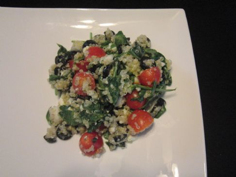 Robin's Quinoa, spinach, tomato, feta and black olives