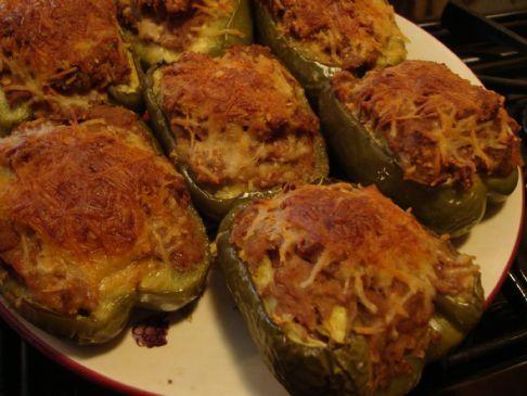Turkey-Pork-Bean Stuffed Green Peppers