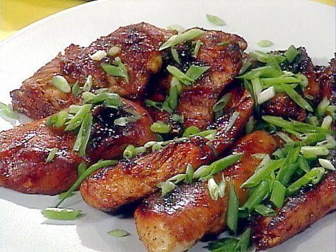 Honey Teriyaki Chicken, Ripe Pineapple Spears, with toasted sesame rice balls