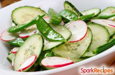 Springtime Salad with Snow Peas, Cucumbers, and Radishes