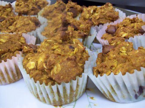 Oatmeal Dark Chocolate Chip Pumpkin Muffins