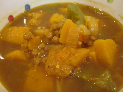Curried Butternut Squash & Lentil Soup