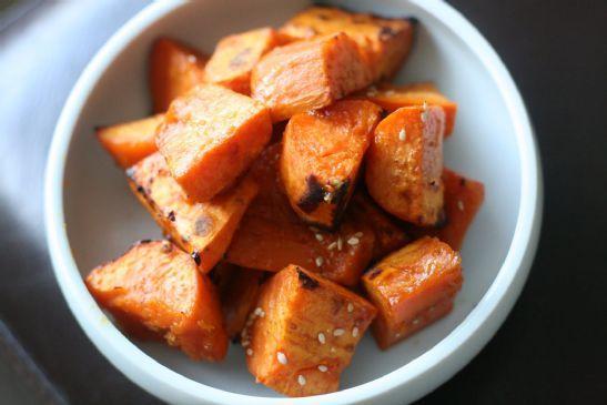 Low fat, low cal Roasted Honey, Basil, Balsamic Sweet Potato