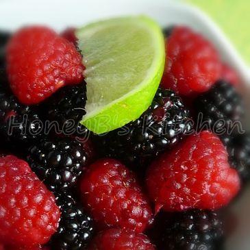 Fresh Raspberries and Blackberries in Lime Ginger Dressing