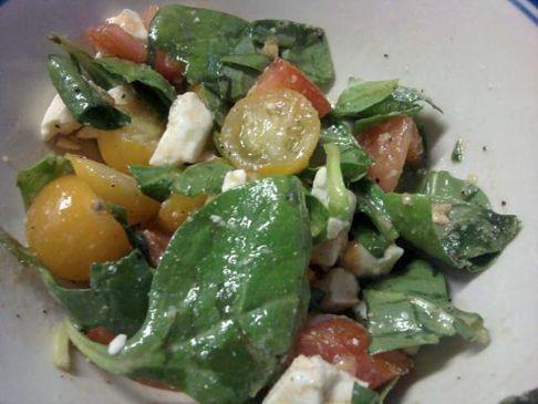 Tomato, Feta, and Spinach Salad