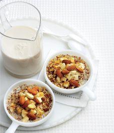 Breakfast quinoa with wheatberries, bananas and almond milk