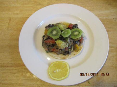 Black Bean, Amaranth, Avocado, Mango Salad  Tostada