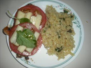 Balsamic-Glazed Chicken with Smoked Mozzarella and Garlic Rice Pilaf