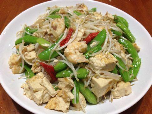 Tofu+Sprouts+Sugar Snap Peas Stir-Fry