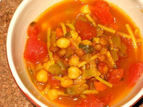 Harira - Moroccan Tomato, Lentil and Chickpea Soup