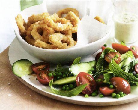 Calamari with Lemon Aioli & Pea Salad