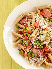 Penne with Sausage and Peas