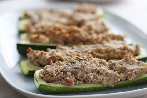 Nutty Stuffed Zucchini Boats