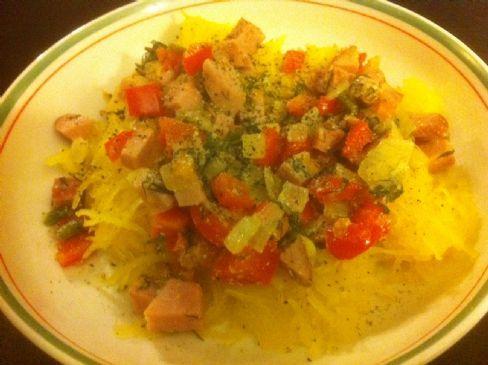 Squash Spaghetti with Ham, Tomato & Creamy Sauce