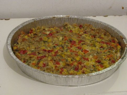 Pasta cheese bake with corn, sweet pepper and dill
