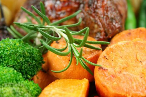 Beef Roast with Broccolini and Sweet Potatoes
