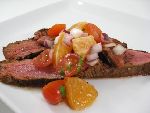 Skinny Sizzling Flank Steak with Citrus Salsa