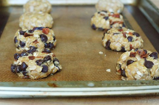 Oatmeal chocolate chip cookies with bacon