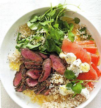 Couscous, Watermelon & Feta Watercress Salad w Lam