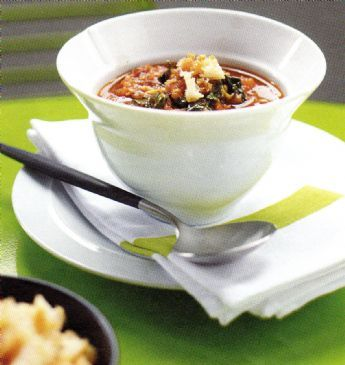 Roasted Tomato & Basil Soup with Parmesan Croutons