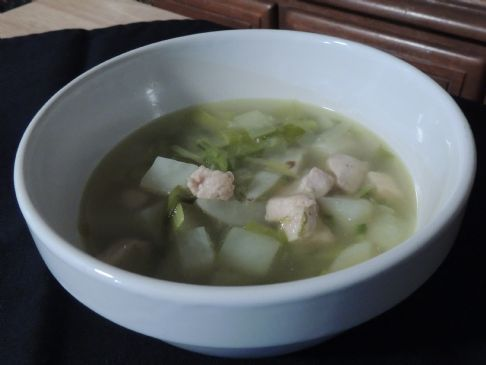 Spicy chicken potato and leek soup