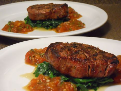 HCG Phase 2 - Filet Mignon with Smoky Tomato and Wilted Spinach