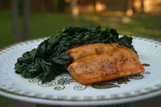 Sweet & Spicy Salmon (Shown with sauteed spinach)