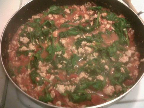 Ground Turkey with Fresh Spinach & Diced tomatoes
