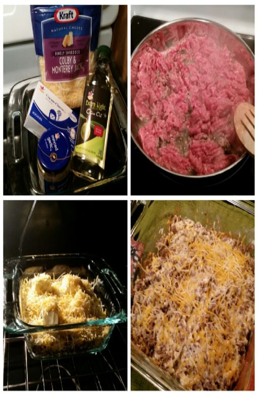 Beef, cream cheese & shredded cheese