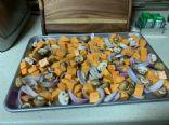 Roasted Sweet Potatoes, mushroom and onion