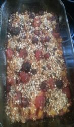 Peach and mixed berry  crisp