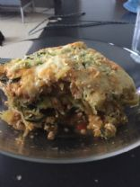 Baked spaghetti squash with ground chicken