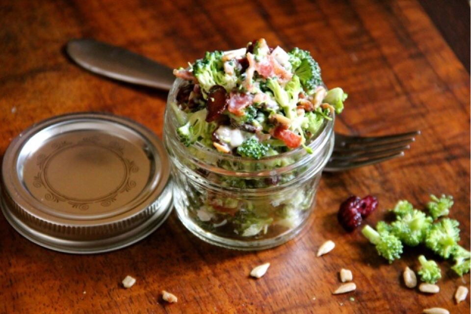 Broccoli and Cauliflower Salad with Sunflower Seeds & Cranberries