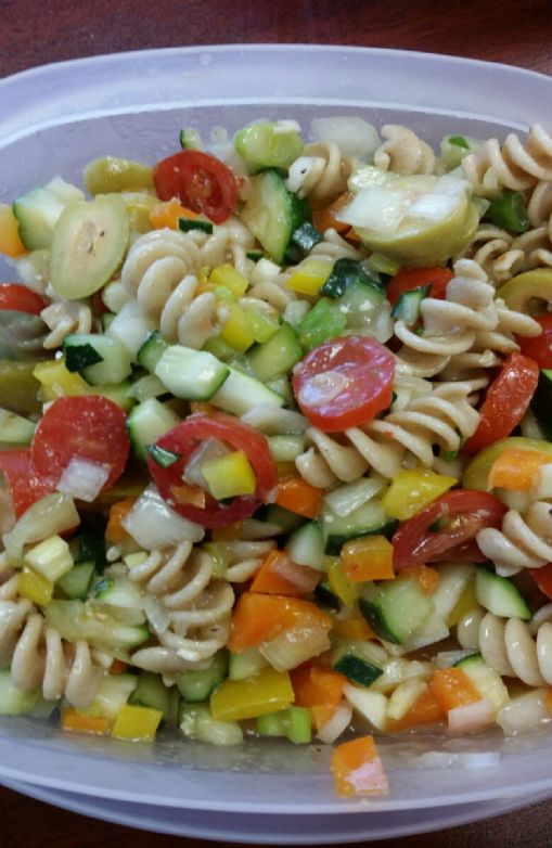 Whole wheat pasta and veggies