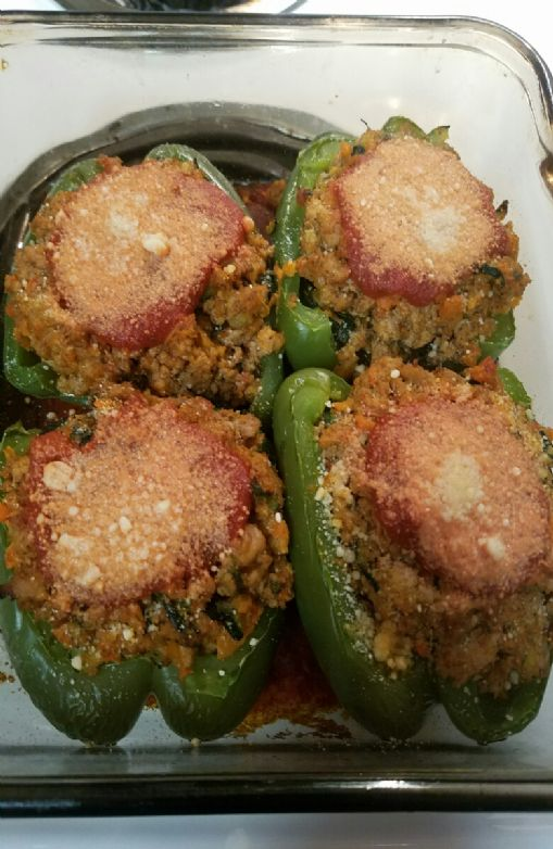 Ground Turkey Stuffed Peppers with Zuccini and Carrots