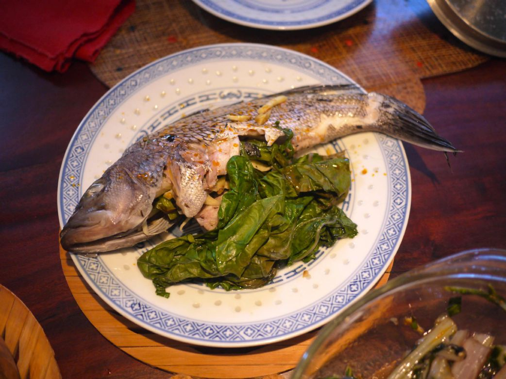 Asian Steamed Sea Bass with Swiss Chard and Rice